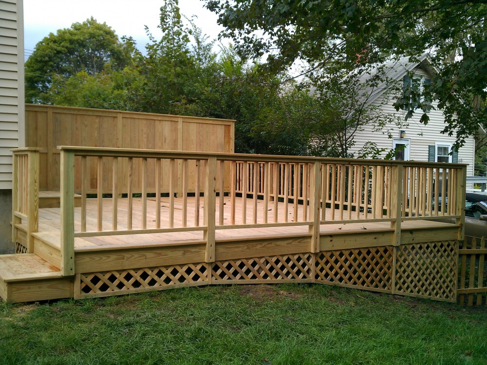 Deck with privacy fence side view