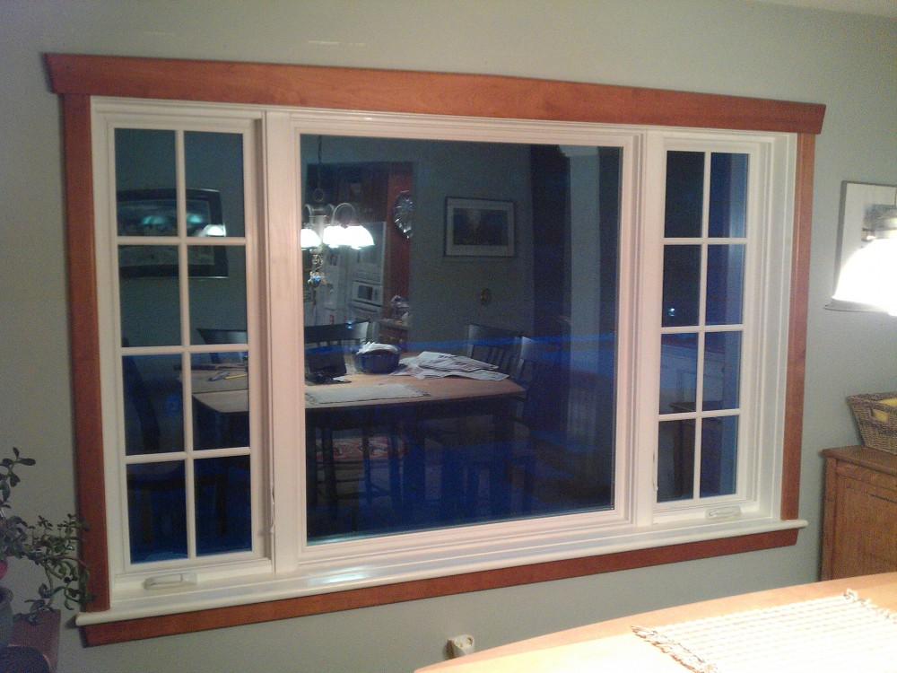 Vinyl Clad Casement Window Interior With Cherry Trim